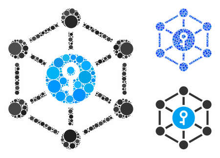 Public key composition of circle elements in different sizes and color hues, based on public key icon. Vector circle elements are organized into blue composition.