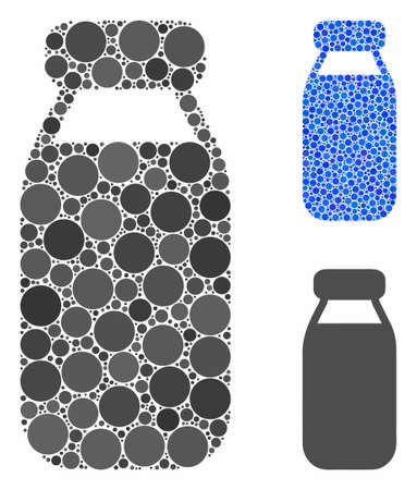 Bottle mosaic of round dots in various sizes and shades, based on bottle icon. Vector round dots are organized into blue composition. Dotted bottle icon in usual and blue versions.