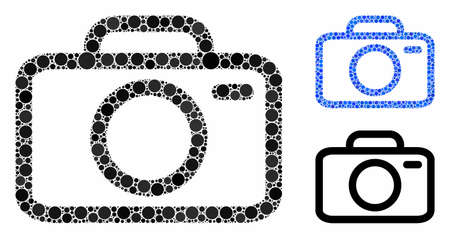 Camera composition of small circles in different sizes and color tints, based on camera icon. Vector small circles are united into blue illustration. Dotted camera icon in usual and blue versions.