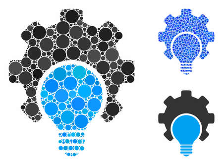 Bulb configuration gear mosaic of round dots in different sizes and color tints, based on bulb configuration gear icon. Vector round dots are organized into blue illustration.