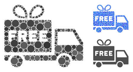 Free shipment mosaic of small circles in different sizes and color hues, based on free shipment icon. Vector small circles are organized into blue collage. Illustration