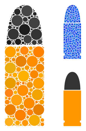 Ammo bullet composition of small circles in different sizes and color tints, based on ammo bullet icon. Vector random circles are organized into blue composition.