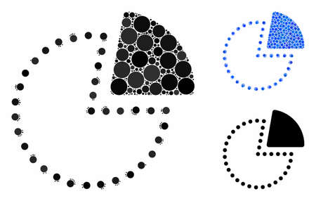 Pie chart composition of round dots in variable sizes and color hues, based on pie chart icon. Vector round elements are composed into blue composition. Stock fotó - 133250470