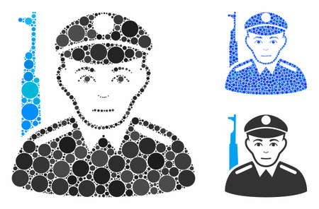 Soldier mosaic of filled circles in different sizes and shades, based on soldier icon. Vector random circles are combined into blue mosaic. Dotted soldier icon in usual and blue versions.