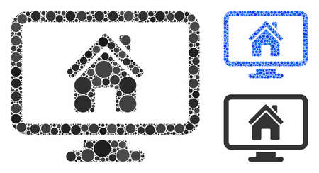 Realty monitoring mosaic of filled circles in various sizes and color tones, based on realty monitoring icon. Vector filled circles are composed into blue mosaic.