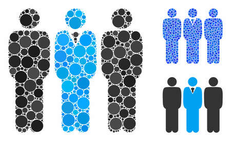 Team manager composition of round dots in different sizes and color hues, based on team manager icon. Vector round dots are grouped into blue illustration.