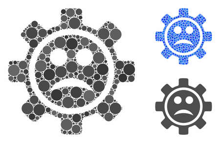 Service gear sad smiley mosaic of filled circles in variable sizes and color tints, based on service gear sad smiley icon. Vector filled circles are composed into blue illustration.