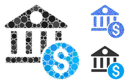 Dollar bank composition of filled circles in various sizes and color tones, based on dollar bank icon. Vector filled circles are combined into blue mosaic.