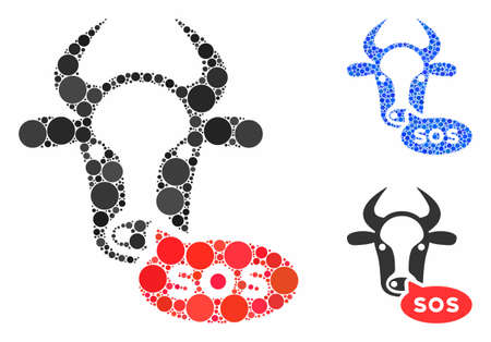 Cow sos message composition of filled circles in variable sizes and color hues, based on cow sos message icon. Vector filled circles are composed into blue illustration.