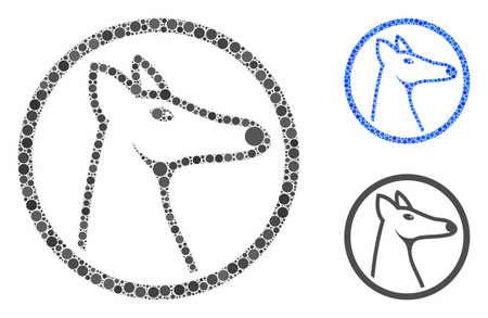 Rounded fox head composition of spheric dots in various sizes and color hues, based on rounded fox head icon. Vector dots are composed into blue illustration. Illustration