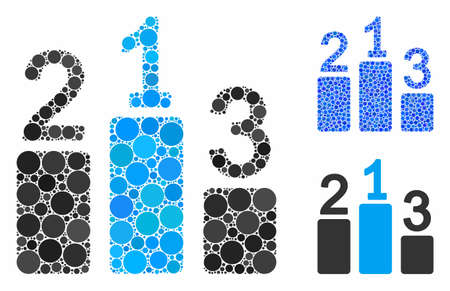 Pedestal mosaic of round dots in different sizes and color hues, based on pedestal icon. Vector round dots are composed into blue composition. Dotted pedestal icon in usual and blue versions.