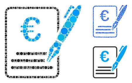 Euro contract signature composition of round dots in variable sizes and color hues, based on Euro contract signature icon. Vector dots are organized into blue composition. Stock Illustratie