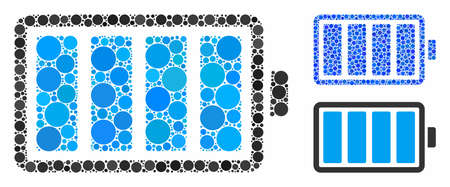 Battery mosaic of round dots in different sizes and color tones, based on battery icon. Vector round dots are composed into blue mosaic. Dotted battery icon in usual and blue versions.
