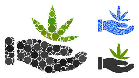 Cannabis offer hand mosaic of round dots in variable sizes and color hues, based on cannabis offer hand icon. Vector random circles are united into blue mosaic.