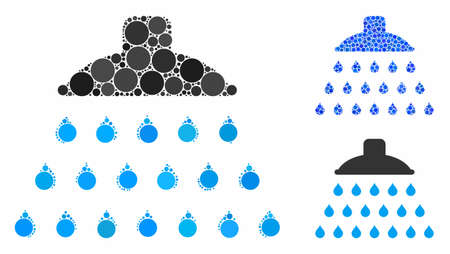 Shower mosaic of round dots in different sizes and shades, based on shower icon. Vector round elements are organized into blue mosaic. Dotted shower icon in usual and blue versions.  イラスト・ベクター素材