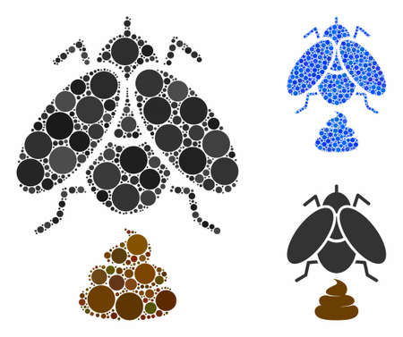 Fly shit composition of round dots in variable sizes and color tints, based on fly shit icon. Vector round dots are composed into blue collage. Dotted fly shit icon in usual and blue versions. 向量圖像