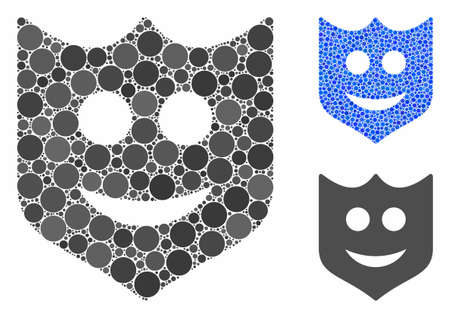 Smile shield composition of filled circles in variable sizes and color hues, based on smile shield icon. Vector filled circles are grouped into blue collage.