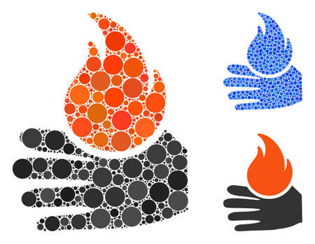 Burn hand mosaic of spheric dots in different sizes and color tints, based on burn hand icon. Vector round dots are combined into blue collage. Dotted burn hand icon in usual and blue versions.