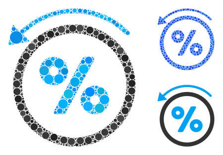 Rebate percent composition of small circles in different sizes and shades, based on rebate percent icon. Vector small circles are grouped into blue illustration.
