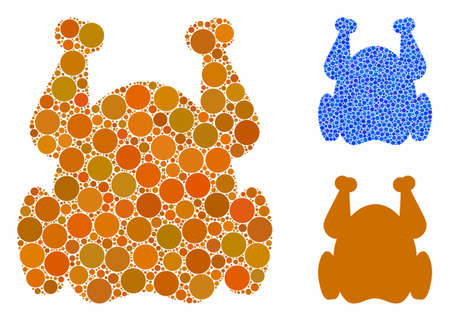 Chicken composition of round dots in different sizes and color hues, based on chicken icon. Vector round dots are organized into blue illustration. Dotted chicken icon in usual and blue versions.