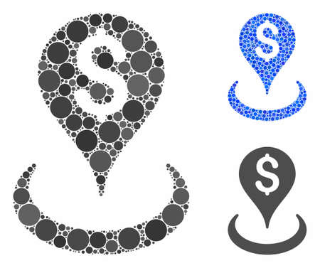 Money location composition of small circles in various sizes and color tinges, based on money location icon. Vector small circles are composed into blue composition. Vetores