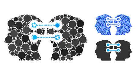 Composition de connexion d'interface à double tête de cercles remplis de différentes tailles et teintes de couleur, basée sur l'icône de connexion d'interface à double tête. Les cercles remplis de vecteurs sont unis en mosaïque bleue.