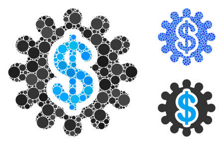 Financial options gear mosaic of circle elements in various sizes and shades, based on financial options gear icon. Vector circle elements are united into blue collage.