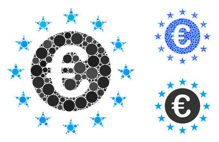Euro union stars mosaic of small circles in variable sizes and color tinges, based on Euro union stars icon. Vector small circles are combined into blue illustration.