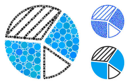 Pie chart mosaic of circle elements in various sizes and color tones, based on pie chart icon. Vector circle elements are grouped into blue illustration. Illusztráció