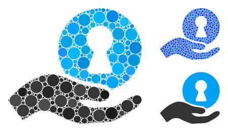 Insider hand mosaic of circle elements in variable sizes and color tones, based on insider hand icon. Vector circle elements are grouped into blue illustration.
