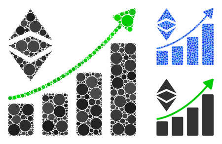 Classic Ethereum growth trend mosaic of round dots in variable sizes and color tints, based on classic Ethereum growth trend icon. Vector round dots are composed into blue mosaic. Illustration