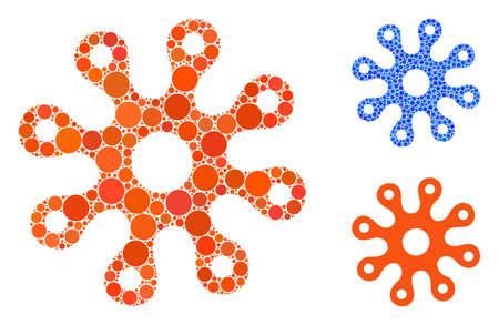 Virus composition of round dots in different sizes and color tinges, based on virus icon. Vector round dots are organized into blue collage. Dotted virus icon in usual and blue versions.