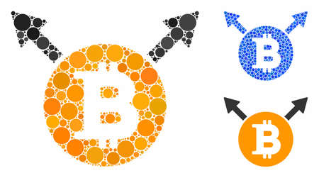 Bitcoin fork composition of small circles in various sizes and color hues, based on Bitcoin fork icon. Vector filled circles are combined into blue composition.