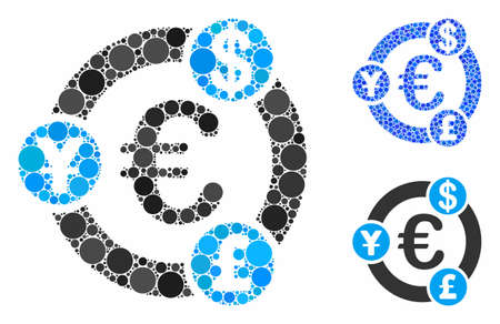 International financial collaboration mosaic of round dots in various sizes and color tones, based on international financial collaboration icon. Vector dots are grouped into blue mosaic. Illusztráció