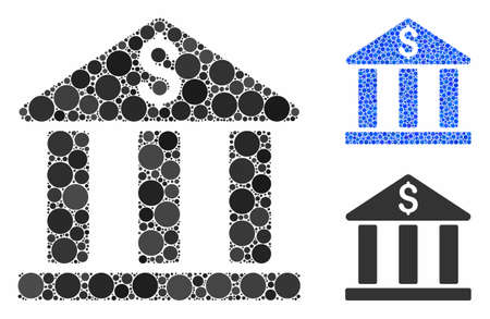 Bank building composition of filled circles in variable sizes and shades, based on bank building icon. Vector filled circles are composed into blue mosaic.