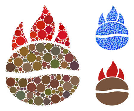 Fired coffee bean composition of round dots in different sizes and color tones, based on fired coffee bean icon. Vector dots are composed into blue composition.
