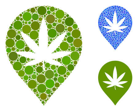 Cannabis map marker composition of filled circles in variable sizes and color tinges, based on cannabis map marker icon. Vector filled circles are organized into blue composition.