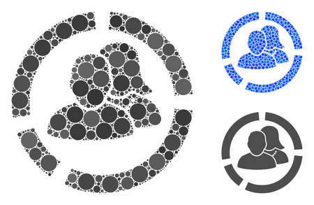 People diagram composition of small circles in various sizes and color tinges, based on people diagram icon. Vector small circles are organized into blue mosaic. Illusztráció