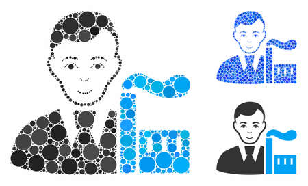 Capitalist oligarch mosaic of circle elements in variable sizes and shades, based on capitalist oligarch icon. Vector circle elements are composed into blue composition. Illusztráció