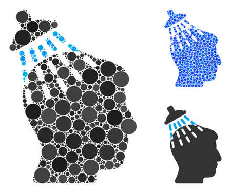Head shower mosaic of round dots in variable sizes and color tints, based on head shower icon. Vector round dots are grouped into blue composition. Dotted head shower icon in usual and blue versions.
