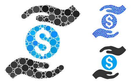 Business insurance hands mosaic of filled circles in variable sizes and color tones, based on business insurance hands icon. Vector circle elements are grouped into blue mosaic.