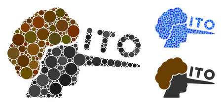 ITO lier composition of round dots in variable sizes and color hues, based on ITO lier icon. Vector round elements are united into blue composition. Dotted ITO lier icon in usual and blue versions. Illusztráció
