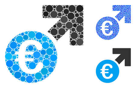 Euro growth composition of filled circles in various sizes and color tones, based on Euro growth icon. Vector filled circles are combined into blue illustration. Stock fotó - 133224516