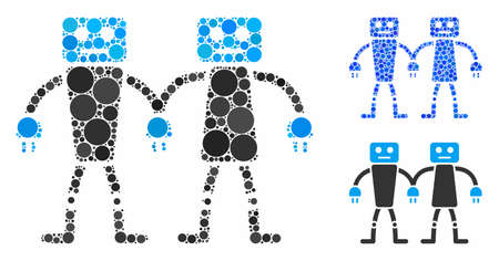 Robot friends composition of round dots in various sizes and color tones, based on robot friends icon. Vector round dots are composed into blue illustration.