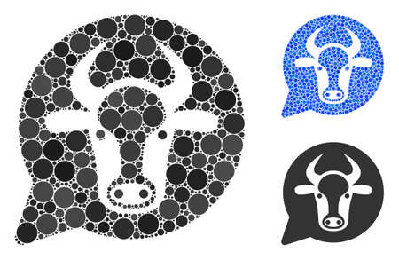 Cow message balloon composition of spheric dots in various sizes and color hues, based on cow message balloon icon. Vector round dots are grouped into blue composition.