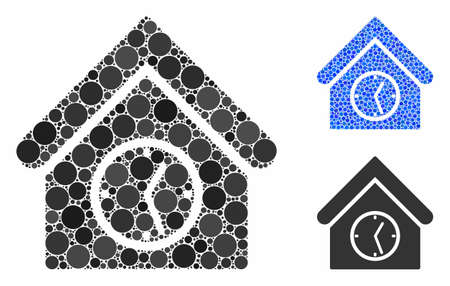 Clock building composition of small circles in various sizes and color tinges, based on clock building icon. Vector small circles are organized into blue mosaic.