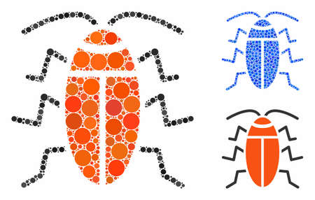 Cockroach composition of filled circles in different sizes and color hues, based on cockroach icon. Vector filled circles are united into blue collage.