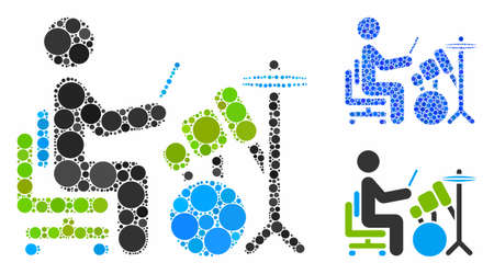 Drummer mosaic of circle elements in variable sizes and color tinges, based on drummer icon. Vector circle elements are combined into blue composition. Dotted drummer icon in usual and blue versions.