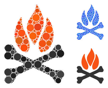 Bones campfire mosaic of small circles in variable sizes and shades, based on bones campfire icon. Vector small circles are organized into blue illustration.