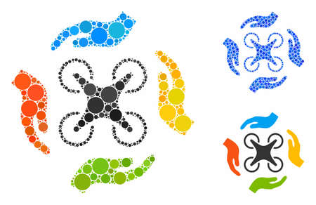 Copter care hands mosaic of small circles in various sizes and color tones, based on copter care hands icon. Vector small circles are combined into blue collage.